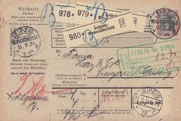 DR Paketkarte Für 3 Pakete Mif Minr.90I, 2x 94AI KOS Leipzig-Neuschönfeld 11.7.14 Gel. In Schweiz - Briefe U. Dokumente
