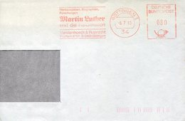 39625 Germany Red Meter Freistempel Ema,1983 Gottingen Martin Luther And Reformation (part Of Cover, As Scan) - Christentum