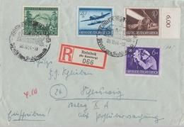 DR R-Brief Mif Minr.855,876,878,882 Reinbek (Bz. Hamburg) 3.10.44 - Briefe U. Dokumente