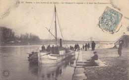"""37 TOURS. CPA. LE CHALAND A VAPEUR """" L'AMI DU COMMERCE """". ANNEE 1906. ANIMATION SUR LES BORDS DE LOIRE - Tours"""