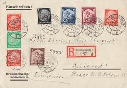 DR R-Brief Mif Minr.512,517,565,567,568 Zdr. Minr.S122 Braunschweig 9.2.35 Gel. Nach Rumänien - Deutschland