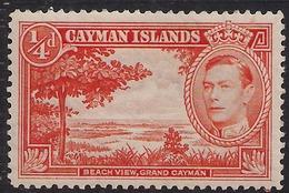 Cayman Islands 1938 - 48 KGV1 1/4d Red Orange Beach View Umm 115 ( K1405 ) - Cayman Islands
