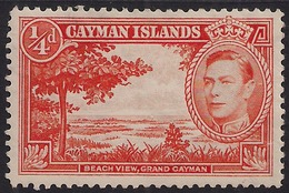 Cayman Islands 1938 - 48 KGV1 1/4d Red Orange Beach View  MM 115 ( K1409 ) - Cayman Islands