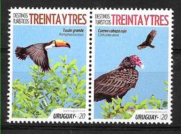 URUGUAY 2018 FAUNA  PAJAROS ,DEP 33,DESTINOS TURISTICOS,SET PAIR MNH - Oiseaux
