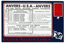Buvard / Blotter - United States Lines - Anvers-USA-Anvers - 2 Scans - Boats