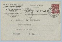 N°431 Seul Sur CP Commerciale Usines PIED-SELLE Paris 23/12/41 Vers Bourges - Postmark Collection (Covers)