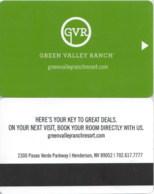 Hotel Room Key Cards, Room Keys, SChlüsselkarte, Clef De Hotel-- Green Valley Ranch--1187 - Hotel Keycards