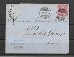 1862-1881 SITZENDE HELVETIA (gezähnt) → Brief Genève Nach Winterthur 1868 - 1862-1881 Sitted Helvetia (perforates)