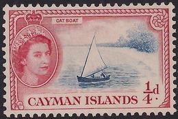 Cayman Islands 1953 - 62 QE2 1/4d Cat Boat Unused No Gum SG 148 ( K1442 ) - Cayman Islands