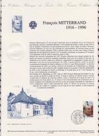 1ER JOUR  FEUILLET DOCUMENT PHILATELIQUE 97 526 FRANCOIS MITTERRAND - Documents De La Poste