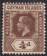 Cayman Islands 1912 - 20 KGV 1/4d Brown  MM SG 38 ( K1444 ) - Cayman Islands