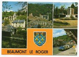 BEAUMONT LE ROGER -- Multivues  ( Voitures , Monument Aux Morts ) --beau Blason - Beaumont-le-Roger