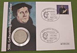 Numisbrief Deutschland 1990 Münze 5 DM Mark Martin Luther - 5 Mark