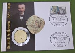 Numisbrief Deutschland 1991 Münze 5 DM Mark Heinrich Schliemann - 5 Mark