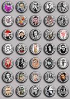 Writer Nobel Prize In Literature Jean-Paul Sartre - 1964 PIN's SET 1  (1inch/25mm Diameter) 35 DIFF - Celebrities