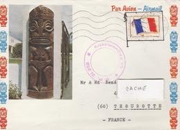 LSC 1968 - Enveloppe De TAHITI - Cachet  évidé  S.P.  91.325  Et Timbre FM - Postmark Collection (Covers)