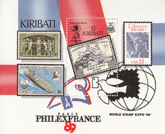 1989 Kiribati  Philexfrance UPU Stamps On Stamps Philately   Souvenir Sheet Complete MNH - Kiribati (1979-...)