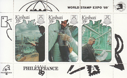 1989 Kiribati  Philexfrance Statue Of Liberty Sculpture Souvenir Sheet Complete MNH - Kiribati (1979-...)