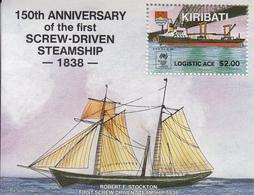 1988 Kiribati  Steamship Commercial Ships Souvenir Sheet Complete MNH - Kiribati (1979-...)
