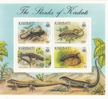 1987 Kiribati  Skinks Lizards Reptiles Souvenir Sheet Complete MNH - Kiribati (1979-...)