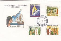 AMERICA, DESCUBRIMIENTO Y EVANGELIZACION FDC REPUBLICA DOMINICANA 1992- BLEUP - Dominicaanse Republiek