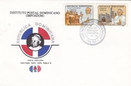 VISITA PASTORAL SANTIDAD PAPA JUAN PABLO II FDC REPUBLICA DOMINICANA 1992- BLEUP - Dominicaanse Republiek