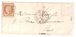 PARIS Losange B Bâton Timbre à Date Type 1520 Rochette Levée 11 H 10c Napoléon ND Yv 13 B Type 2 - 1849-1876: Période Classique