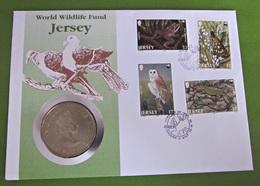 Numisbrief Münze Two Pounds Jesey 1987 Vögel WWF Tiere - Jersey