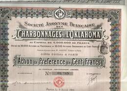 Ancienne Action - Société Anonyme Française Des Charbonnages De L'Oklahoma - Titre De 1911 - Mines