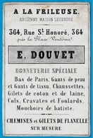 """Carte De Visite Commerciale """"A LA FRILEUSE"""" E. DOUVET (Habillement) 364 Rue St-Honoré 75001 PARIS - Cartes De Visite"""