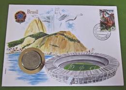 Numisbrief Brasilien Fußballstadion / Brasil 50 Cruzeiros Münze 1984 Briefmarke - Brésil