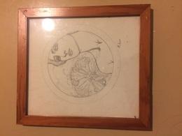 Disegno A Matita Firmato Vintage Anni 70 Incorniciato - Disegni