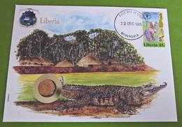 Numisbrief Liberia 1985 Krokodil Tiere Münze Briefmarke - Liberia