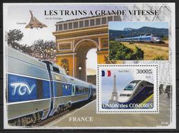 COMORES BF 132 * *  ( Cote 22e)  Trains TGV Francais Concorde Arc De Triomphe Tour Eiffel - Eisenbahnen