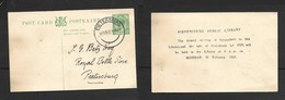 S.Africa, GVR, 1/2d Postal Card Advising Meeting Of Library Subscribers, Used,  Local,  PIETERSBURG 8 FEB 27 - South Africa (...-1961)