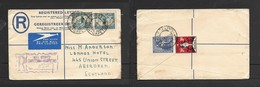S.Africa, GVIR, Registered Air Mail  MILL STREET CAPETOWN 20 NO 37 > Scotland + 1937 CHRISTMAS 1d Anti TB Stamp - South Africa (...-1961)
