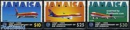 Jamaica 1999 Air Jamaica 3v, (Unused (hinged)), Transport - Aircraft & Aviation - Aviones