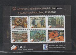 Honduras 2007 Central Bank 50 Years Sheet And FDC Painting Great Item, Scarce - Honduras