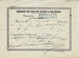 1862-  Chemin De Fer Paris à Orléans - Bulletin De Prise En Charge D'un Colis Au Bureau D'ANGOULÊME - Marcophilie (Lettres)