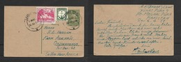 Pakistan,domestic  Post Card 9 Pies, Uprated +1 Anna 9 Pies LAHORE G.P.O. 7 APR 58 > S.W.Africa - Pakistan