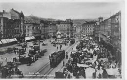AK 0070  Linz An Der Donau - Platz Des 12. November Mit Pöstlingberg ( Krämermarkt , Strassenbahn ) Um 1940 - Linz