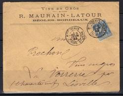 Bordeaux Cours St Jean : Enveloppe R. Maurain-Latour Vins En Gros Bègles, 1893. - Marcophilie (Lettres)