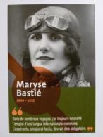 MARYSE BASTIE - Aviatrice - Femme Célèbre Aviation - Carte Publicitaire RATP Station Prolongement Tram T3 - Femmes Célèbres