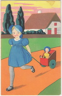 Meisje Met Pop In Wagentje - 1934 - (Uitgever: Hofa) - Humorkaarten