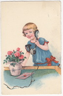 Meisje Met Oude Telefoon - 1934, Vlissingen - (Uitgever: WS + SB 8398) - Antique Telephone - Humorkaarten