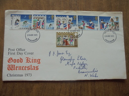 S050: FDC: GOOD KING WENCESLAS CHRISTMAS 1973. 5 X 3p  & 1 X 3.5p Stamps. First Day Of Issue 28 NOV 1973 Manchester. - FDC