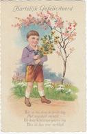 Jongen Met Bosje Bloemen - 'Zij Is Dan Daar De Groote Dag, Met Ongeduld Verbeid...' - 'Hartelijk Gefeliciteerd' - Humorkaarten