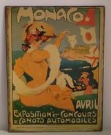 Plaque Publicitaire En Tôle - MONACO Exposition Et Concours De Canots Automobile S - Illustrateur Grün Femme Art Nouveau - Advertising (Porcelain) Signs