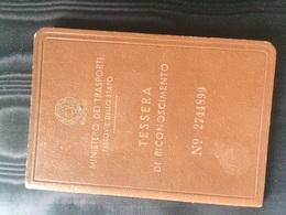 1953 Ministero Dei Trasporti Ferrovie Dello Stato Tessera Di Riconoscimento - Abonnements Hebdomadaires & Mensuels