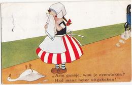 'Arm Gansje, Wou Je Oversteken? Had Maar Beter Uitgekeken!' - (J. Salmon N-S 14 -1933, Nijmegen) - Willem I Postzegel - Humorkaarten